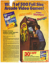 "QUAKER Halfsies :: ""WIN 1 of 500 Full Size Arcade Video Games!""; 30¢  OFF (( 1983 ))"