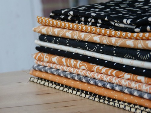 halloween fabric stack