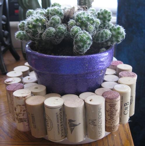 Wine cork plant holder