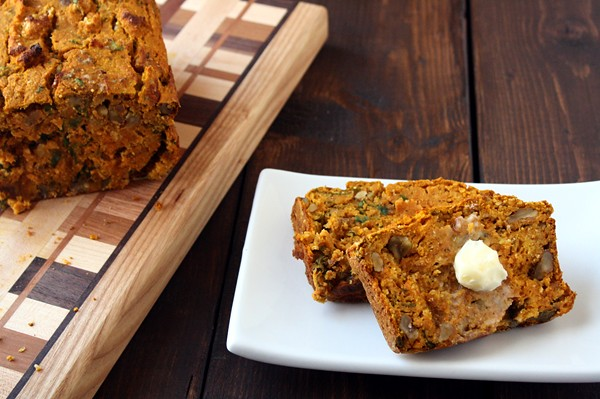 Savory Pumpkin and Cornmeal Quick Bread