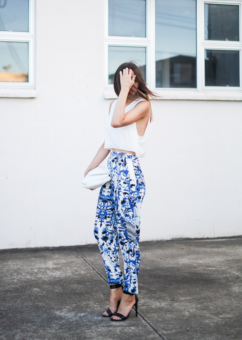 modern legacy fashion style blogger australia Christmas outfit party Three of Something printed pants crop top summer street style (1 of 9)