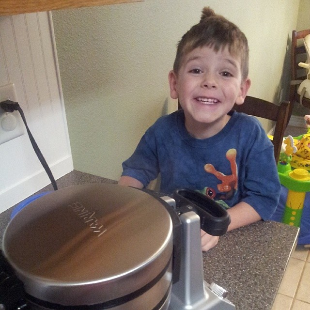 First morning to use our new waffle maker... Someone's excited!