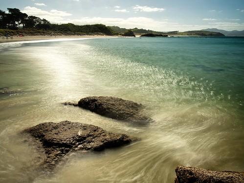 longexposure sea newzealand beach water rock wave northisland rodney tawharanui aucklandarea