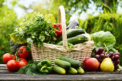 Fresh organic vegetables in wicker basket in the g…