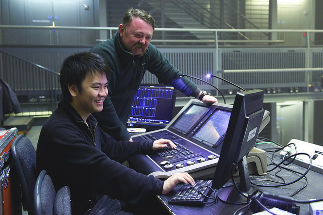 Jun Chan, Technical Theatre Apprentice, with Martin Adams, Linbury Theatre Technical Manager © ROH / Sim Canetty-Clarke 2013