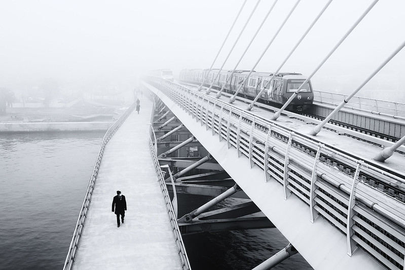 bridge  at fog