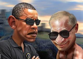 Obama Putin Faceoff - Caricatures
