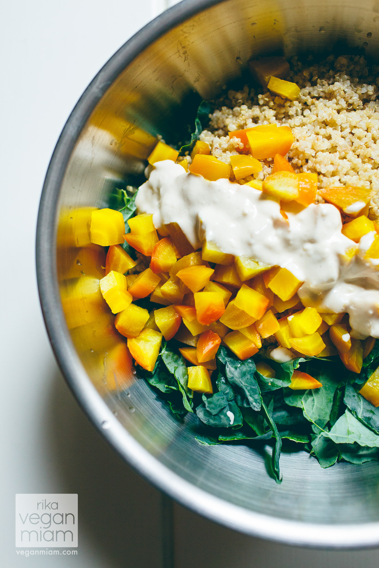 Roasted Golden Beetroot, Quinoa + Kale Salad