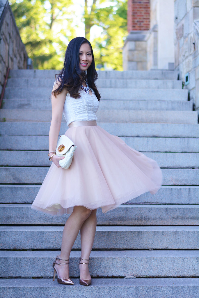 blush pink tulle skirt & white lace top outfit