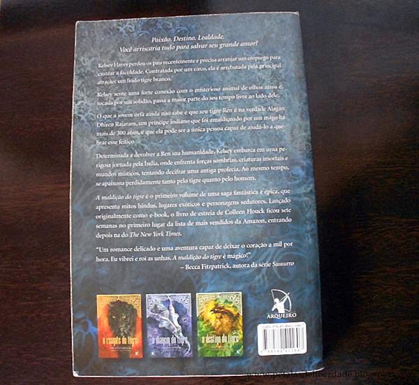 contracapa, sinopse, Resenha, livro, A Maldição do Tigre, Colleen Houck, quotes, trechos