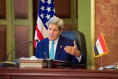 U.S. Secretary of State John Kerry addresses reporters during a news conference with Egyptian Foreign Minister Sameh Shoukry following a series of security and economic meetings during a Strategic Dialogue between the United States and Egypt in Cairo, Egypt, on August 2, 2015. [State Department photo/ Public Domain]