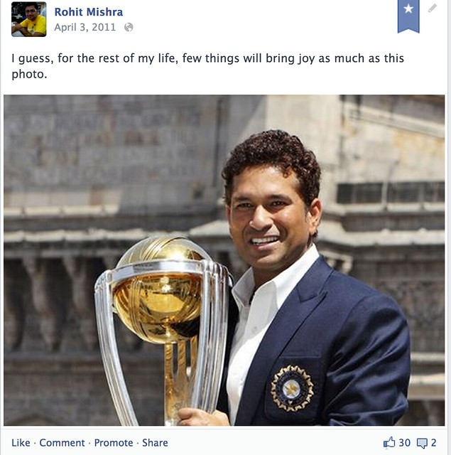 My Facebook post with Sachin with the World Cup