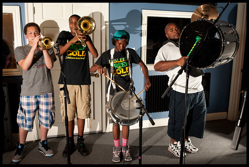 Triple B's Brass Band from the Martin Behrman Charter School Academy of Creative Arts and Sciences in the WWOZ Studio for Cutin Class. by Ryan Hodgson-Rigsbee (www.rhrphoto.com)