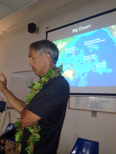 <p>Master Navigator Nainoa Thompson talks to the media on May 29, 2013 about Hokule'a's upcoming Worldwide Voyage.</p>