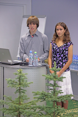 Tyler Myers and Emily Barnett give their presentation to an international panel of judges at the 9th Annual International Jr. Foresters' Competition in Moscow in 2012. Students from the United States participated in this event for the first time last year and the pair won third place in the overall competition. (Photo courtesy of Tyler Myers)