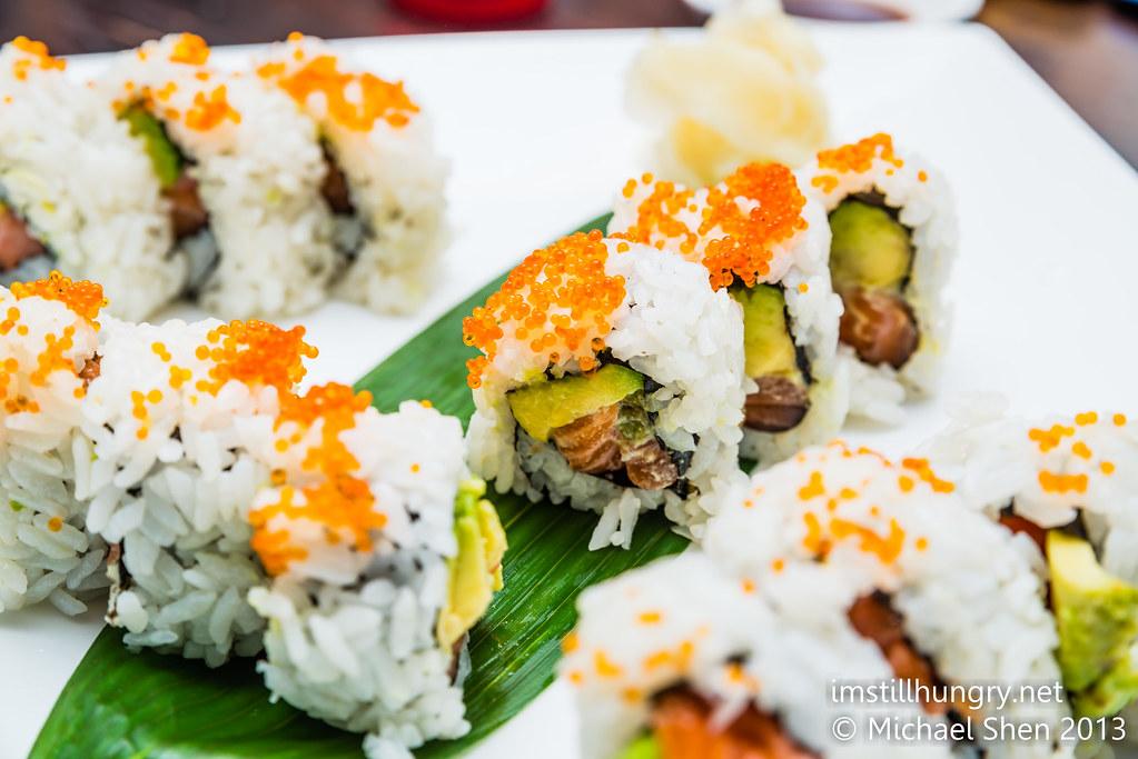 Uramaki sushi - cod roe, avocado, maguro Jazushi