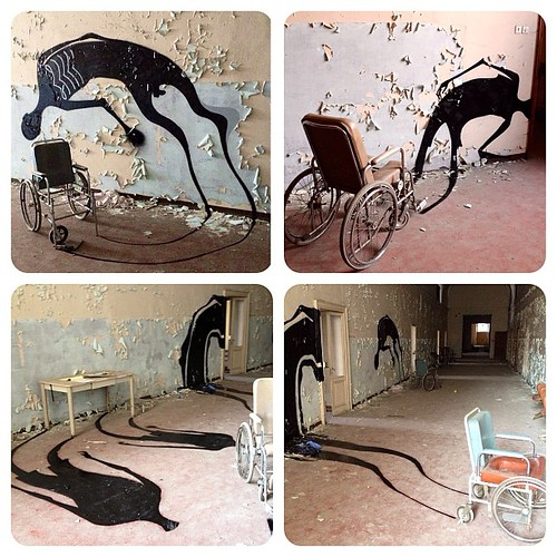 Brazilian street artist, Herbert Baglione @hbaglione painting floating silhouette ghosts in abandoned places. so rad. wish I can encounter one some day.  #herbertbaglione #1000shadows by audkawa