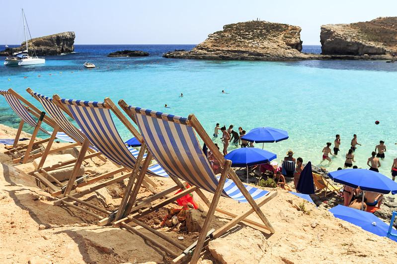 Sunbeds, Blue Lagoon - Comino Island