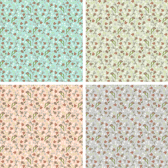 scattered flowers textile design 4 colors