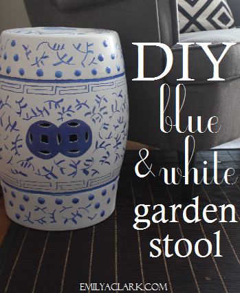 DIY blue and white garden stool