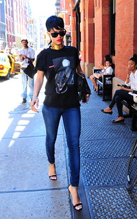rihanna in new york showing off her new mullet hair style