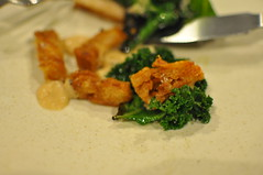 Burnt kale, chicken skin, almond