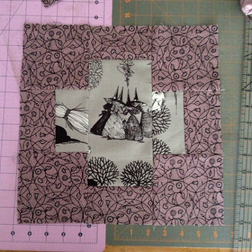 Finally picked a block pattern for my #alexanderhenry #ghastlies quilt! Here's to hoping I might have it done by my birthday on #halloween !