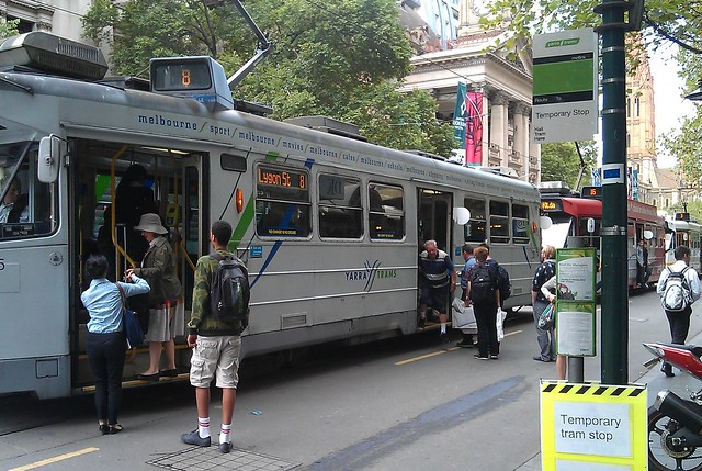 Trams lined up in Swanston Street