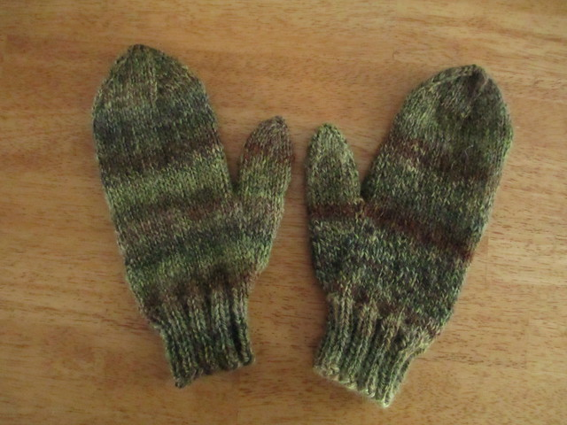 Handspun mohair mittens