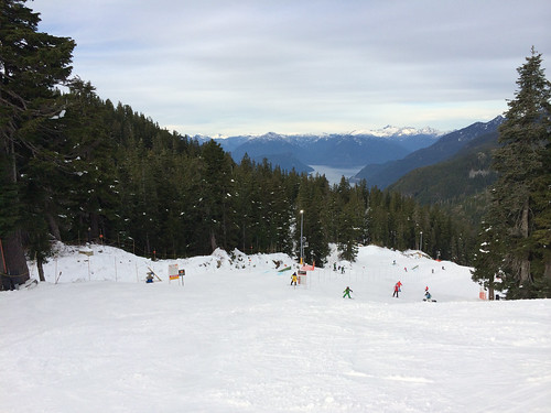 Skiing on Cypress Mountain with Howe Sound in the background (November 24, 2013)