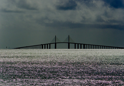 Sunshine Skyway Bridge and storm over Tampa Bay