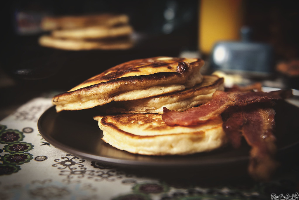 Maple Bacon Pancakes via GirlCarnivore.com