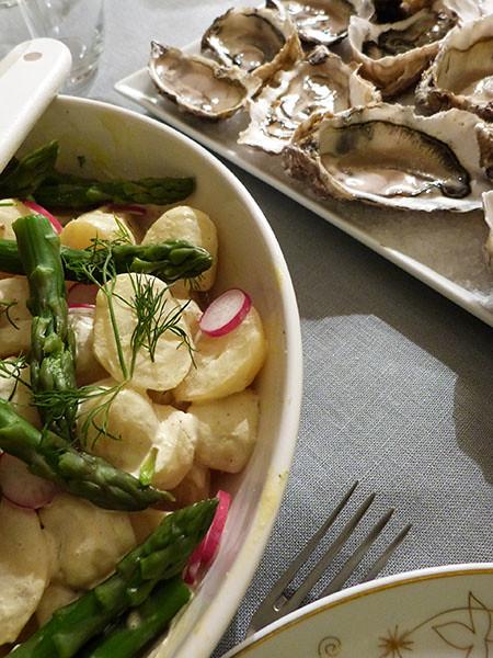 huîtres et salade de pdt