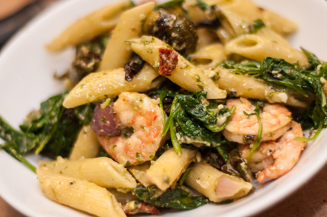 penne with roasted brussels sprouts, greens, shrimp and pesto