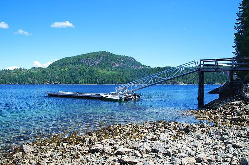 Hoskyn Channel Landing Dock on Quadra Island in the Discovery Islands provides access to remote marine parks, including Surge Narrows and Octopus Islands, British Columbia.
