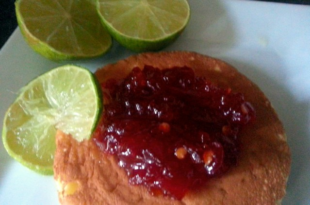 Chilli jam and lime pancake