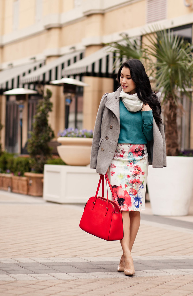 cute & little blog | floral skirt, teal sweater, striped scarf, kate spade poppy red bag, gray wool coat outfit