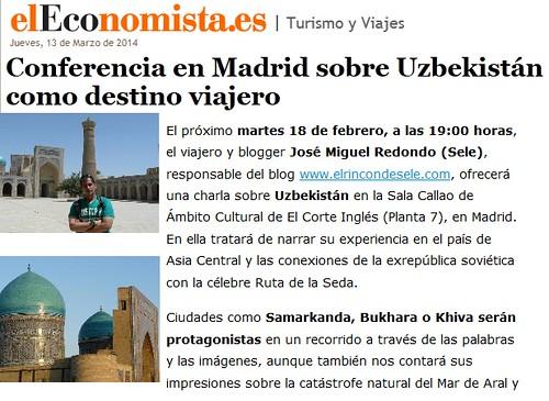 Noticia en El Economista de la Conferencia sobre Uzbekistán