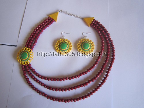 Paper Beads and Quilling Brooch Necklace & Studs (FAH01225) (1) by fah2305
