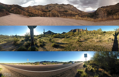 road arizona cactus panorama mountain nature landscape highway desert cloudy pavement bluesky dirtroad iphone highway8 sierravistaaz speedlimit40 montezumaspass