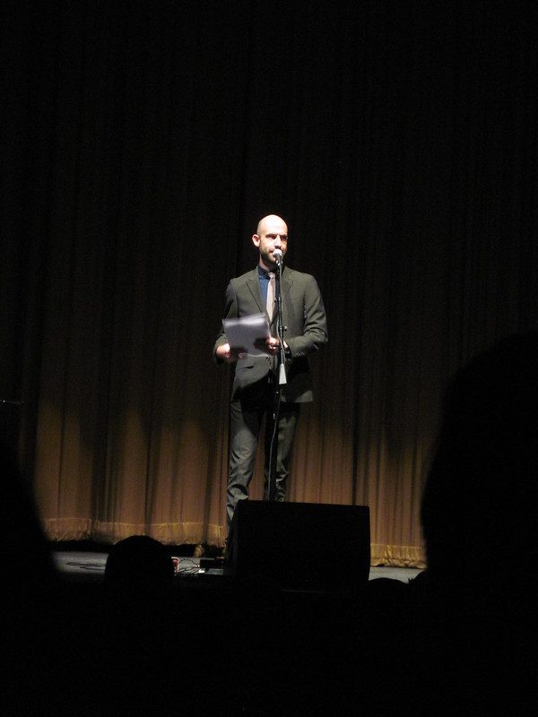 Cecil Baldwin on stage at the Welcome to Night Vale, Washington DC show