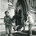 <p>Excavating at the west front of Wells Cathedral, 1987</p>