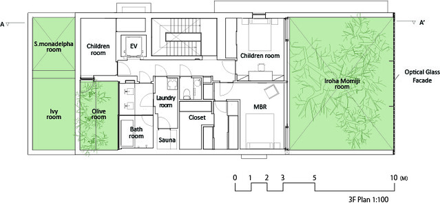 Photo:中村拓志 Hiroshi Nakamura & NAP建築設計事務所 - Optical Glass House - Drawings 04 - 3F Plan 平面圖.jpg By 準建築人手札網站 Forgemind ArchiMedia