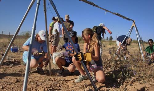Girls Use Tools @ Zanjero Park, Gilbert, burrowing owl release tent construction.