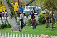 the client list filming in our next-door neighbors front yard