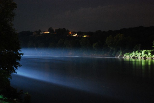 fog light river night