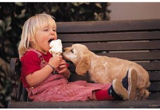 3 year old girl with puppy and ice cream cone