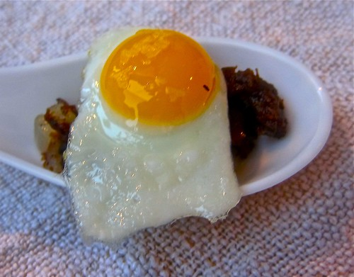 caulfield's duck hash with quail egg