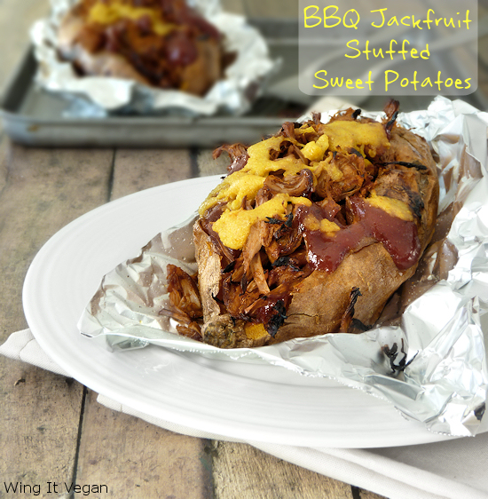 BBQ Jackfruit Stuffed Sweet Potatoes