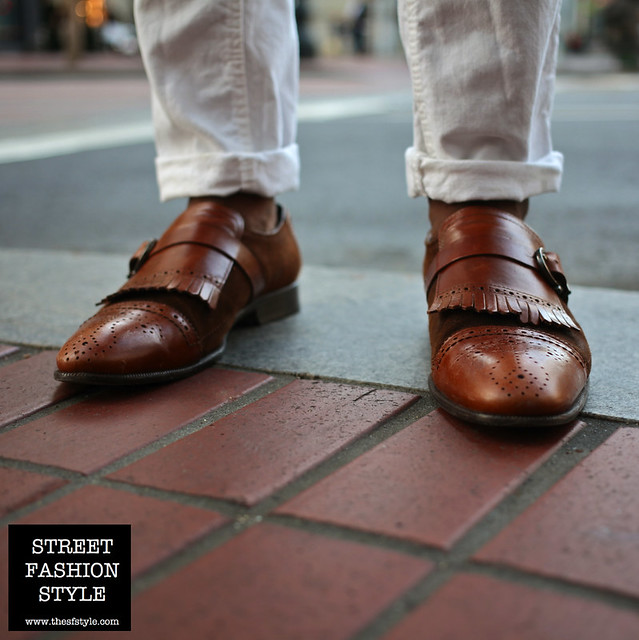 brown leather brogues, white jeans, white denim, leather portfolio, man morsel monday, san francisco fashion blog, streetstyle, street fashion style,